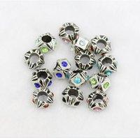 New Polygon Plaqué Argent Perle Charm creux strass Avec Rouge Bleu Perles de Cristal Fit Femmes Pandora Bracelets Bangles bricolage Bijoux Cadeaux
