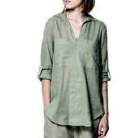 tunic tops - Summer Blouses Long sleeve cuffed Slip on Shirt Ladies Pullover Tunic Women s V Neck Button Detail Dip pull blouson Solid Loose Shorts Tops