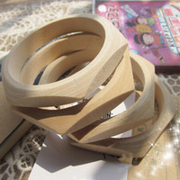 Cheap wooden bracelet blanks Faceted wood bangles for painting craft material 50Pcs lot
