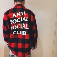 Wholesale Social Anti Social Club South Flannel Shirt Head Hands Hip Hop Logo ASSC Harajuku Palace Autumn Skateboard Camisa Shirt