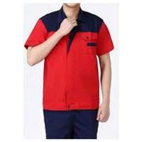Wholesale Summer Work Uniform Clothes Short Sleeve Vehicle Repair Suit Unisex Superior Fabric Anti dust Five Size Navy Shoulder and Red Body