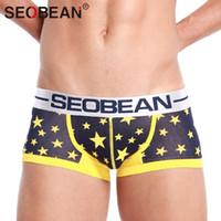 Cheap 3pcs Seobean Brand Sexy Men Underwear Boxer Shorts Trunks Cotton Gay Mens Briefs Boxers Penis Pouch Convex Man Underpants Waist
