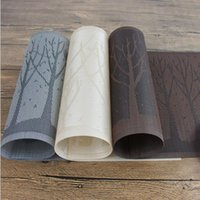 Wholesale 30x45cm Textilene PVC Material Pine Tree Place Mats Heat Insulation Washable Table Mats Set of