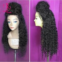 Cheap HOT sales! Beauty Free shipping heat resistant kinky curly synthetic lace front wig nature black wig glueless curly wig for black women