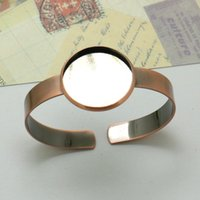 Wholesale BRUSHED FISHING ANTIQUE Copper Cuff Bangles Bracelets Blank Base with mm Cameo Setting Flat Pad for DIY