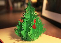 Wholesale Merry Christmas Tree D laser cut pop up paper handmade custom greeting cards Christmas gifts souvenirs postcards
