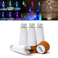 Wholesale Colorful USB LED Wine Bottle Light Cork Stopper Rechargeable Lamp Creative Bar Decoration with sold by EWIN24