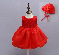 Wholesale Baby Girls White Red Christening Gown Dress Vestidos Infantis Princess Wedding Party Lace Dress for Newborn Baptism With Hat