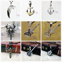 Wholesale Cool men necklace anchor guitar cross pendant adjustable jewelry popular holiday gifts the Rock style necklaces promotion