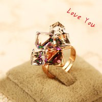 big costume jewelry rings - Luxury Big Cubic Zircon Ring Adjustable Finger Ring Vntage Gold Plated Charms Ring for Women Wedding Party Costume Jewelry Fashion Accessori
