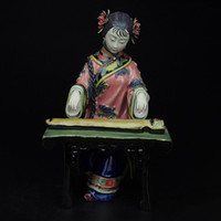 ancient chinese statues - Sale Painted Porcelain Figurine Handmade Antique Statues for Decoration Shiwan dolls Ceramic Ornament Ancient Chinese Female Sculpture