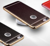 Wholesale luxury Leather back TPU plated eletroplated electroplating case cover skin shell for iPhone iPhone iPhone Plus iPhone
