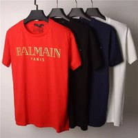basic buttons - 2016 Summer Balmain Pairs Men s Basic Logo Print T Shirt Gold BALMAIN PAIRS Typography Printed Tee Shirt Shipping Worldwide