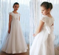 big image print - White Vintage Wedding Flower Girl Dresses Empire Waist with Short Sleeve Big Bow Crystals Cheap Long Baby Child First Communion Dresses