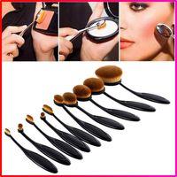 black powder - 10pcs set sets Tooth Brush Shape Oval Makeup Brush Set Professional Foundation Powder make up brushes with retail box