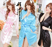 Wholesale Sexy Lingerie Set Kimono Dress G string Silk Lace Sleepwear Pyjamas Sexy Customs for Women Langerie Baby doll and Sex String Robe Underwear