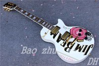 beam guitar - Retail JIM BEAM Model with Pink Rose Flower decal Top white color OEM Electric Guitar
