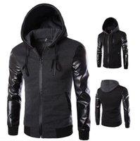 Wholesale men jacket jackets for men fashion new leather long sleeve hoodie jackts coat black mens clothing