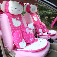 Wholesale set Cute Cartoon Hello Kitty Head Bow Comfortable Rose Car Seat Covers Car Accessories