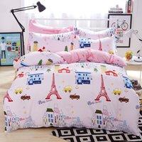 Wholesale London paris eiffel tower pink bedding vintage bedding set full twin queen king size cotton kids bed linen online home textile