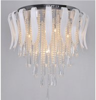 Wholesale Elegant White Glass K9 Crystal Chandelier Creative Art Stainless Steel Crystal Pendant Light Dining Room Office Light Fitting