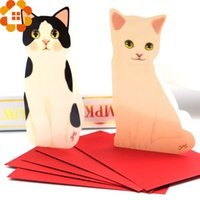 Wholesale 5PCS Mini Cat Folding Greeting Card amp Thank You Card Birthday Christmas Cards Envelope Writing Paper Stationery For Gifts