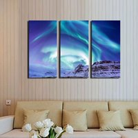 aurora landscape lighting - LK346 Panel Abstract Northern Light Aurora Borealis Kirkjufell Iceland Winter Wall Art Mordern Pictures Print On Canvas Paintings Sale F