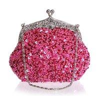 Bolso 03162-N del bolso del maquillaje del monedero del partido de la novia del bolso de embrague del bolso de tarde de la boda de las señoras del color de rosa caliente de la alta calidad