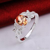 Wholesale Creative Butterfly Crystal zircon diamond ring jewelry trade in Europe and America silver Amazon Free Shopping