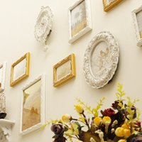 baroque wall frames - 9 Frames Rack Clock Wood Baroque White Yellow Decorative Wall Photo Picture Sets Romantic For Wedding Decoration Moldura On Sale