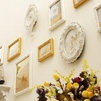 baroque wall clock - 9 Frames Rack Clock Wood Baroque White Yellow Decorative Wall Photo Picture Sets Romantic For Wedding Decoration Moldura On Sale