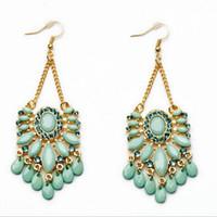 america earrings - 2016 Hot Selling Earrings Europe and America Exaggerated Fashion Sexy Earrings Joker Emerald Stud Earrings Crystal Tassel Earrings