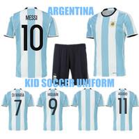 argentina home kit - 2016 Argentina Kid Soccer Jersey Youth Messi Jerseys Di Maria Aguero Higuain Argentina Soccer Uniform Home Football Jersey Kits Soccer Set