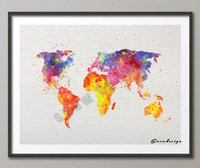 Cheap World Map watercolor canvas painting wall art poster print Pictures for living room Decor wall hanging sticker christmas gifts free shipping