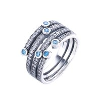 Wholesale 100 Sterling Silver Finger Classic Blue CZ Crystal Rings For Women Compatible with Jewelry Accessories Fine Jewelry SR200