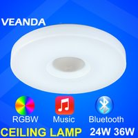 Wholesale Music play LED ceiling lamp bluetooth APP dimmable RGB ceiling light W multi function surface mounted light for home
