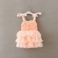 baby girl fluffy dresses - 2016 Summer Kids Clothes Baby Girls Fluffy Flower Dress Kids Tutu Princess Party Dress Girls D Rose Flower Ruffle Slip Dress Baby Dresses