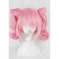 Cheap Free shippiing Cosplay Pinks wig Sailor Moon Chibi Usa Heat Resistant Split Type Wigs Hot heat resistant Party hair
