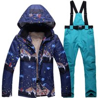 Wholesale new outdoor women ski suit sets sports skiing jacket and pants snowboard clothes waterproof windproof breathable
