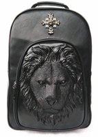 animal rucksacks - 2015 D Lion Studded College Backpack for Men and women Unisex Vivid Animal Print Shoulder Bag PU leather rucksack