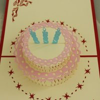 Wholesale 3 in D POP UP Handmade Birthday Gift Greeting Card with Cake Flower Candle Decoration