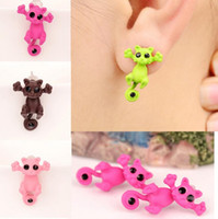 Wholesale New Fashion Women s Girl s Cat Puncture Ear Stud Piercing Earrings Crystal Alloy Cute Earrings Stud For