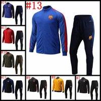 Wholesale Madrid Chelsea Paris Top Thai Quality Jackets pants soccer sports coat long sleeve jerseys set Men football shirt
