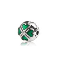 Cheap Four-leaf clover Clip with Green Enamel Clip Charm 925 Sterling Silver Charms Beads Fits European Style Jewelry Bracelets Making OMC004
