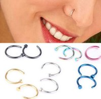 Wholesale Nose Rings Studs Fashion Titanium Steel Puncture Body Jewelry Piercing Open Hoop Ring Earring Studs Non Piercing Rings
