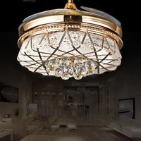 Wholesale Fan Stealth crystal lamp living room ceiling fan light golden fan with LED s restaurant invisible fan