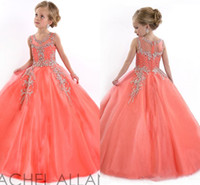 Wholesale 2016 Little Girls Pageant Dresses for Teens Princess Rachel Allan Jewel Crystal Beading White Coral Kids Flower Birthday gowns HY00732