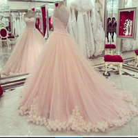 Wholesale Cheap Sexy Lace Ball Gowns - 2016 Pink Quinceanera Dresses Sweetheart Applique Lace Sweet 16 Dresses Plus Size Prom Dresses Hot Sale Masquerade Ball Gown Dresses Cheap