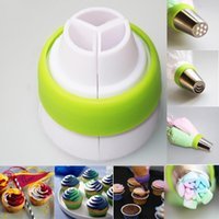 Wholesale 3 Color Icing Piping Bag Russian Nozzle Converter Coupler Cake Decor Tool
