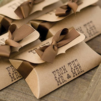 pillow gift box - Kraft Paper Pillow Boxes Wedding Party Favors Gifts Candy Boxes For Party Favors